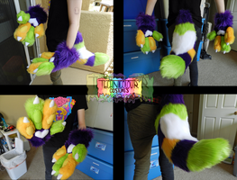 (SOLD) Colorful Heart Handpaw and Tail Set by TECHNlCOLOUR