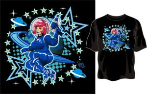 Space Girl shirt design 2 by godzillasmash