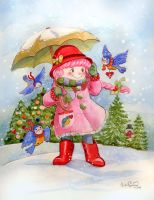 Amy Rubberboots Christmas Card by BlueBirdie
