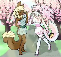 A walk through Cherry Blossoms~ (Fanart) by WolfKidz