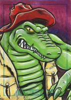 LEATHERHEAD sketch card by JLWarner