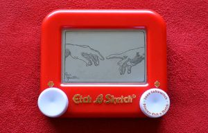 (new) Creation of Adam - hands Etch A Sketch by pikajane