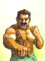 Sketchcard Final Fight Haggar by fedde