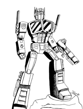 Inktober 5: Optimus Prime!!! by HyperSpaceOddity