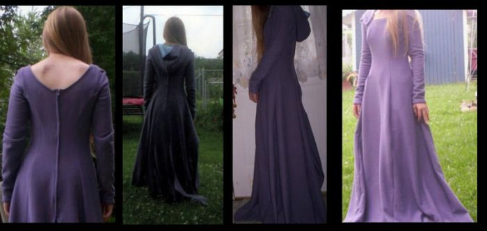 Long Purple Quilted Dress by Threadsoffaith