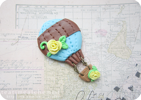 air balloon brooch by tea-time-alchemist