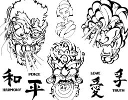 Asian Tattoo Flash 2 by BeeJayDeL