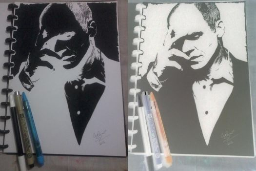 Doug Stamper / Michael Kelly Negative Drawing by N-Shaddriow