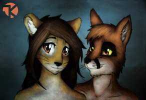 Commission: Ariya and Roukan by JK-madferret