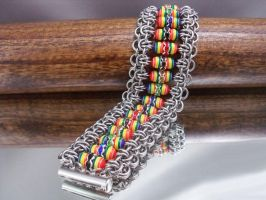 Rainbow Crystal Chainmail Cuff by Pharewings