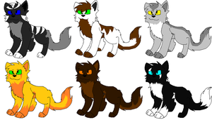 Warrior cat adoptables by Obsidianthewolf
