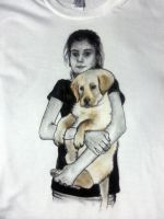 Handpainted t-shirt - Girl with her dog by keopsa