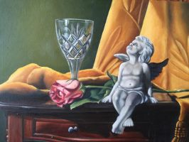 Cherub sitting by a rose and crystal glass by Zvonka