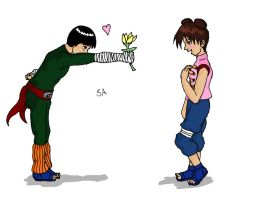 Lee gives Tenten a flower by PetiteLilen