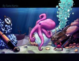 The octopus and his bottle by tavisharts