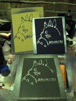 Three totoro's - stencil by moon-glaze