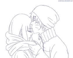 Lineart - Sharing His Warmth (NaruHina) by DYMx