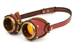 Steampunk goggles - rusty brown leather by AmbassadorMann