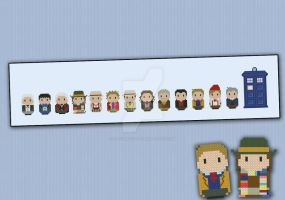 Mini People - Doctor Who cross stitch pattern by cloudsfactory