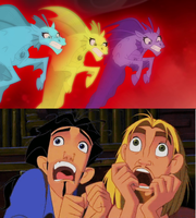Tulio and Miguel Scared for dazzlings final form. by brandonale