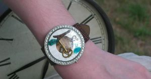I spy Steampunk Cuff moving parts on leather by artistiquejewelry