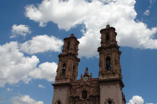 Taxco cathedral towers by xanderking