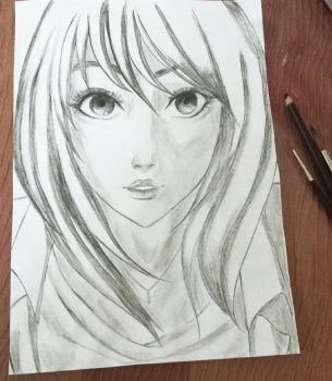 Charcoal sketch and a trick for setting charcoal by hi-no-machi