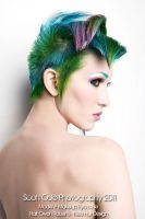 green blue and pink hair by Ryo-Says-Meow