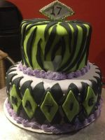 Purple and Green Birthday Cake by simplysweets