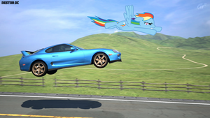 Rainbow Dash flying with her Supra by nestordc