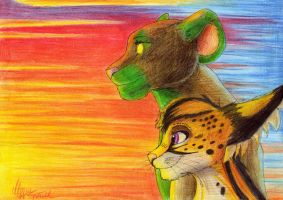 Cougar, serval and the sunset by YunakiDraw