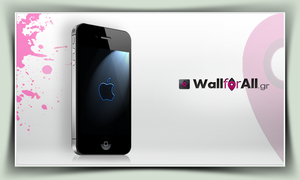 blue paint apple_iPhone by WallforAll