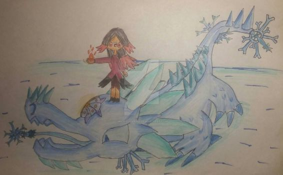 [OMGOL request] Flamuna and the Ice Lizard by Nickquoland