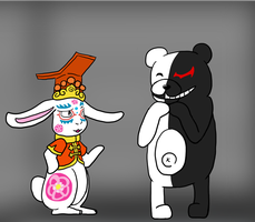 Zero and Monokuma by Sixala