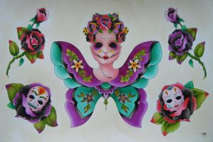 Day of the Dead Butterfly by candygrl191