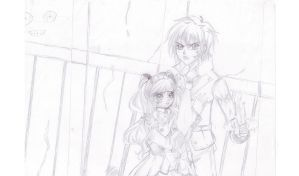 Meruru et Keii dans Corpse Party ! *Sketch* by Meruruu