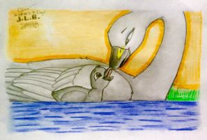 Mother and Cygnet by SammfeatBlueheart