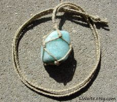 Blue Calcite Hemp Wrapped Healing Crystal Necklace by LWaite