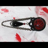 Red and Black Gothic Brooch by asunder