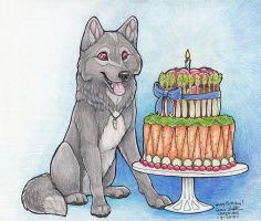 J-wolf Veggie cake Birthday by Crazdude