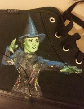 Elphaba - Wicked Painted Shoe 1 of 2 by phantomsgirl3
