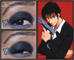 Trigun Eye Design:  Wolfwood by MakeupSiren