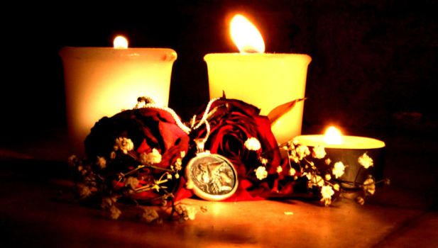 Dead roses and burning candles. by Addisyana-Macenzirov