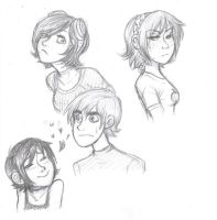 Scott Pilgrim and girls by Bonka-chan