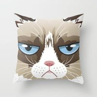 Grumpy Cat Throw Pillow / Cover by crystaland