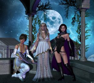 One moon three goddesses
