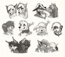 Headshot Sketch Commission: Batch 4 by SilverDeni