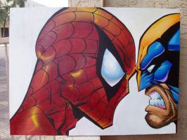 spiderman vs. wolverine by toxickwaste872