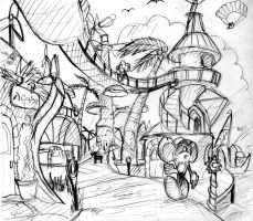 Blaze's world Town sketch :1 by PsuC