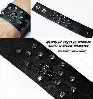Crystal Studded Skull Bracelet by Create-A-Pendant